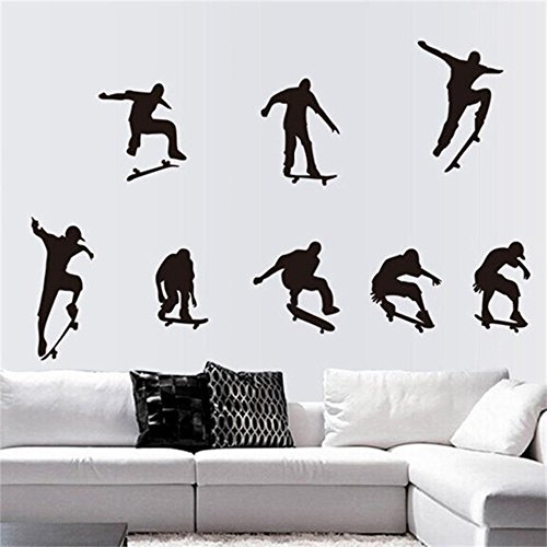 ufengke home Skateboard Silhouette Wall Art Stickers 9 Pieces Showing Skating Positions Large Decorative Removable DIY Vinyl Fashion Wall Decals Sports Themed Mural in Living Room, Boy's ()