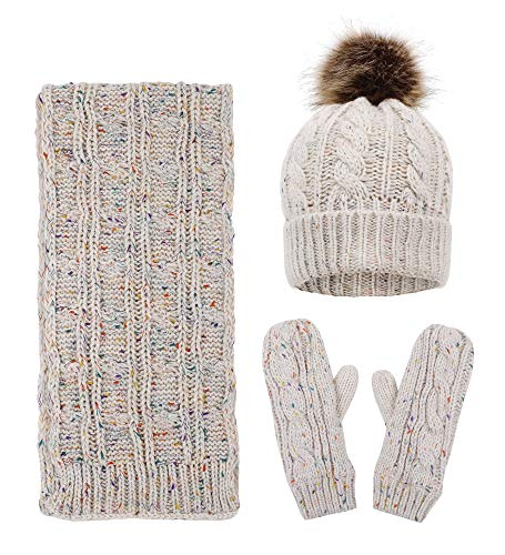 Warm Knitted Hat, Scarf, Gloves Winter Set for Women Scarf Set