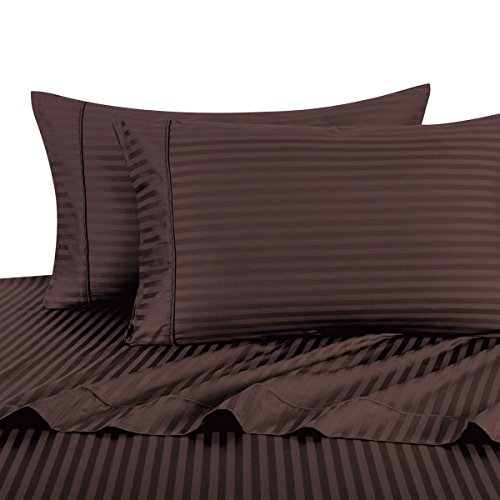 Exquisitely Lavish Sateen Stripe Weave Bedding by Pure Linens, 600 Thread Count 100-Percent Plush Cotton, 3 Piece Twin Extra Long (Twin XL) Size Deep Pocket Hemmed Sheet Set, Chocolate