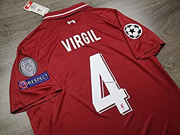 the best attitude b0762 87c67 Virgil#4 Liverpool Champion League Final Madrid Soccer Jersey 2018-2019  Full Patch