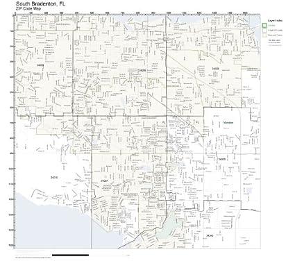 Zip Codes South Florida Map.Amazon Com Zip Code Wall Map Of South Bradenton Fl Zip Code Map