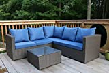 Oliver Smith – Large 4 Pc Modern Brown Rattan Wiker Sectional Sofa Set Outdoor Patio Furniture – Fully Assembled – Aluminum Frame with Ottoman – Blue