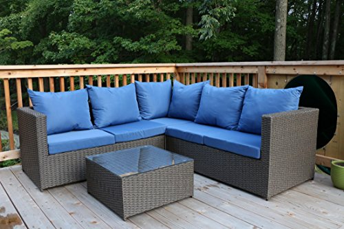 Oliver Smith - Large 4 Pc Modern Brown Rattan Wiker Sectional Sofa Set Outdoor Patio Furniture - Fully Assembled - Aluminum Frame with Ottoman - Blue