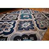 Generations New Contemporary Panel and Diamonds Modern Area Rug, 9' x 12', Beige/Navy/Coral/Blue/Grey