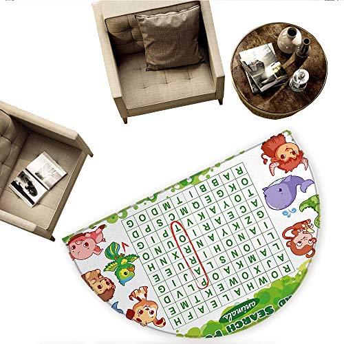 Word Search Puzzle Semicircle Doormat Educational Game for Kids Children Cute Sweet Animals Worksheet Print Halfmoon doormats H 55.1