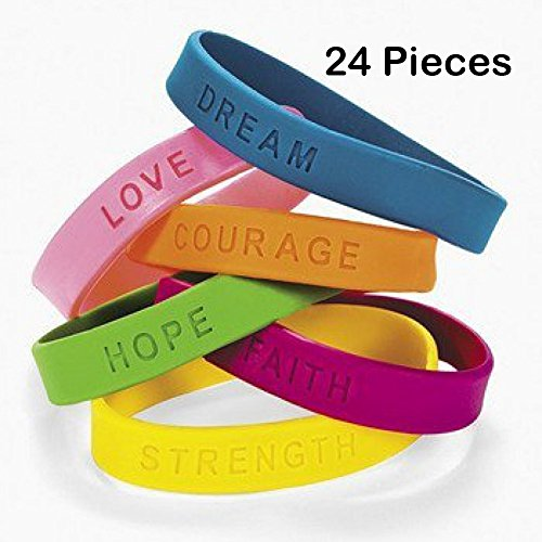 24 Rubber Bracelets With Sayings 8 Inches Diameter, Wristband, Assorted Colors - DREAM, LOVE, COURAGE, HOPE, FAITH, STRENGTH – For Kids, Teens, Adults, Fashion, Prize, Gift, Party Favor – By (Cheap Personalized Party Favors)