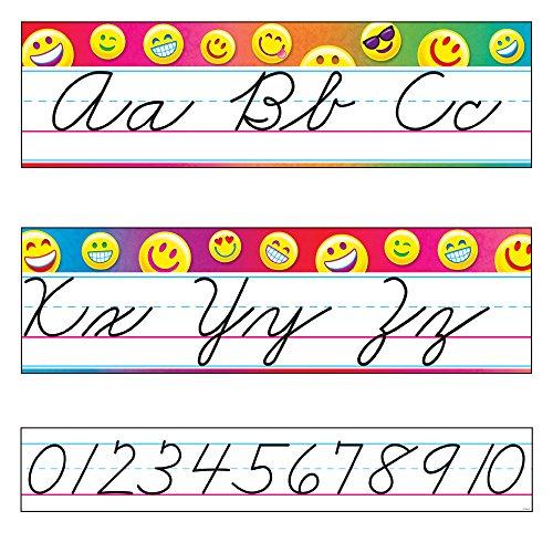 TREND enterprises, Inc. T-8287 Emoji Alphabet Line Standard Cursive Bulletin Board Set