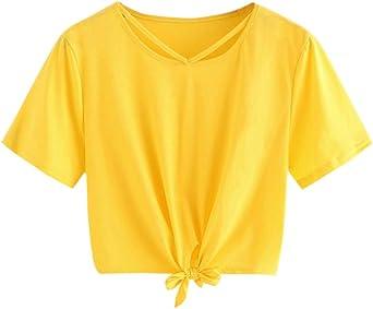 Costura Color de ContrasteCrop Tops Ronamick Cortas Manga Camisetas Gym Mujer Blusa Niña Cortas Manga Camisa Volantes Mujer(Amarillo,S): Amazon.es: Iluminación