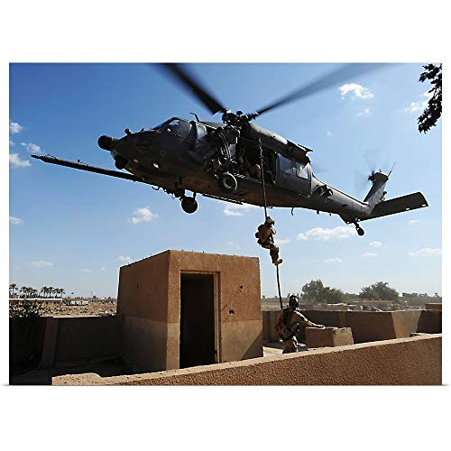 GREATBIGCANVAS Poster Print Entitled A US Air Force Pararescuemen Fast Ropes from an HH60 Pavehawk Helicopter by Stocktrek Images 40