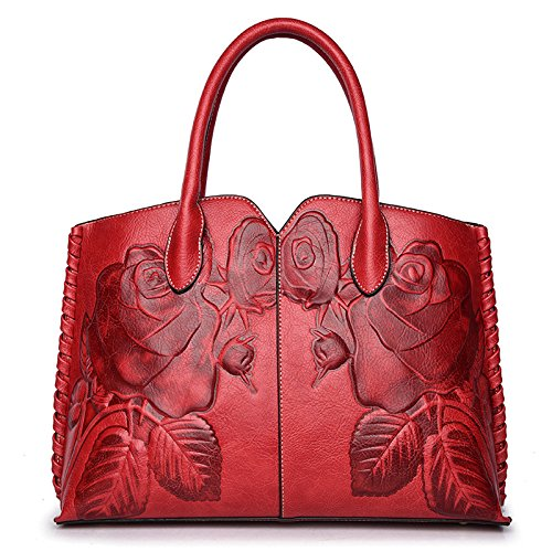 Price comparison product image Women's Bag 2018 New Embossed Mobile Handbags Chinese National Style Stereo Peony Shoulder Slanting Slings, Red-342510cm