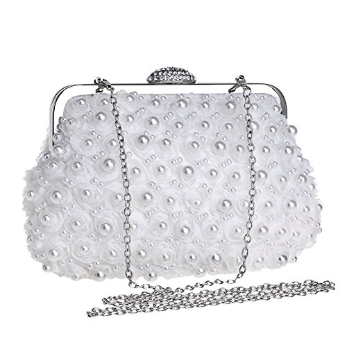 Womens main Pearl White à main Fashion Clutch à Bag sac Evening sac RAPIDLY fqwadSf