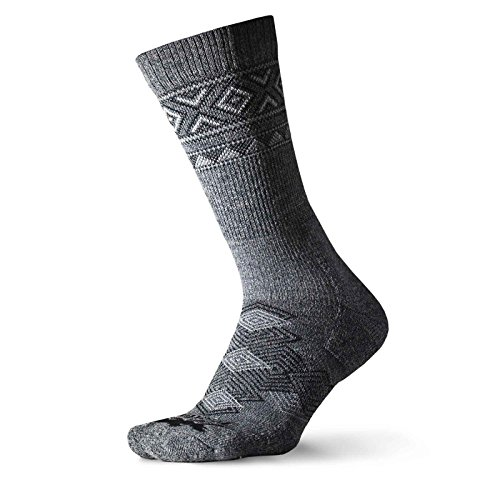(Thorlos Unisex OTXU Outdoor Traveler Thick Padded Crew Sock, Grey/Black, Large)