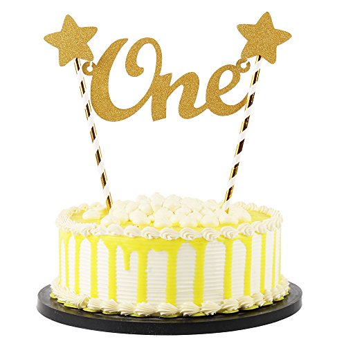 """Price comparison product image PALASASA Gold Glitter Baby First Birthday""""ONE"""" Cake topper, No Assembly Required,  Handmade First Birthday Decorations"""