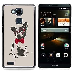 """For HUAWEI Ascend MATE 7 Case , Boston Terrier Pug Lunares Rojo Gris"""" - Diseño Patrón Teléfono Caso Cubierta Case Bumper Duro Protección Case Cover Funda"""