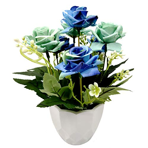 UIKKOT Artificial Fake Flowers Silk Bouquet Roses in Plastic Vase Sturdy Bottom Arrangements for Indoor Outdoor Decorations Wedding Party Home Videos Table Gift or MV (Sky Blue)
