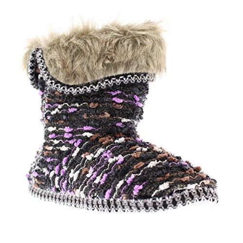 Isaac Mizrahi Women's Annamarie Soft Plush Tweed Nubby Boucle Knit House Slipper Bootie with Fur Cuff Black/Purple XL 10-11 - Slipper Fur Boots