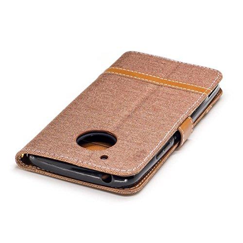 Motorola Moto G5 Funda marrón, MEETER Libro PU Cuero Case Con Flip case cover, Cierre Magnético, Función de Soporte, Tarjeta y efectivo titular, Billetera con Tapa para Motorola Moto G5, Color de marr marrón