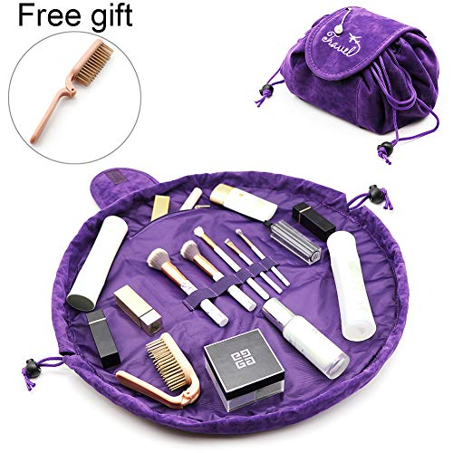 Lazy Makeup Bags, APREUTY Large Capacity Velvet Drawstring Makeup Bags with A Free Foldable Comb Quick Pack Portable Waterproof Zipper Travel Cosmetic Organizer Toiletry Magic Pouch for Women Girls