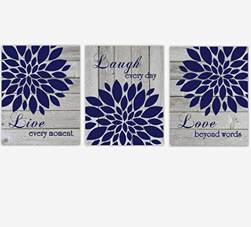 Navy Blue Jungle - Navy Blue Live Laugh Love Dahlia Mums Flower Burst Wall Decor Prints Bedroom Living Room Rustic Farmhouse SET OF 3 UNFRAMED PRINTS