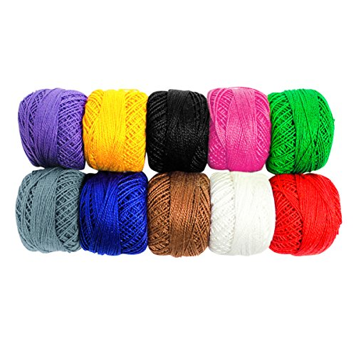 10 Pack Crochet Cotton Yarn Thread by Kurtzy- Plain Design in an Assortment of Colors - Threads for Knitting, Projects and Applique - 50 Grams - 470 Meters of Thread (Cotton Yarn Lace)