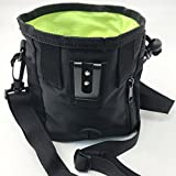 Dog Treat Bag & Training Pouch by AmazingBag - Built-in Poop Bag Dispenser - Flex Metal Clip, Belt or Shoulder Strap (Black, Headphone Port: Yes)