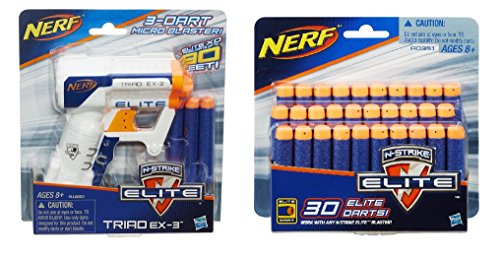Bundle: Nerf N-strike Elite Triad Ex-3 Blaster White(1) Pack of N-strike Elite Darts(30 Darts) (Blaster Ex3)