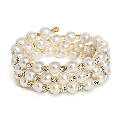 Katie's Style Goldtone Bridal 3-Row Wrap - 3 Row Stretch Pearl Bracelet Shopping Results