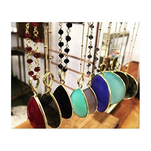 Teardrop Bezel Pendant- Precious Stones Necklace - Choice of Black Onyx - Moonstone - Labradorite - Chalcedony Ruby - 14 Karat Gold Filled Beaded Chain - Artisan Made
