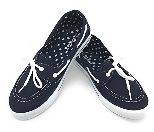 Blue Berry EASY21 Canvas Lace Up Flat Slip on Boat Comfy Round Toe Sneaker Tennis Shoe,Navy,Size 7.5
