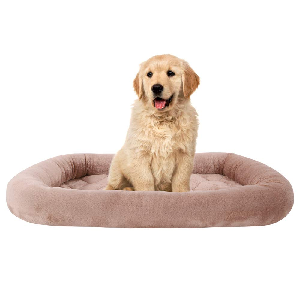 EMME Padded Pet Bed Luxury Flannel All Season Crate Mat for Dog & Cat Plush Pet Bed Pet Mat (Brown, XX-Large)
