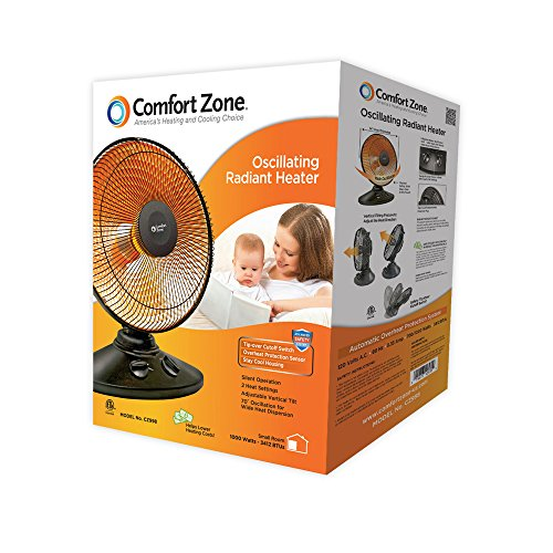 Comfort Zone Oscillating, Electric Wire Element Dish Heater | Black Parabolic Heater with 70° Oscillation