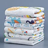 NTBAY 6 Layers of Baby Washcloths Natural Muslin Cotton with Cartoon Printed Design, Newborn Baby Face Towel Perfect Gifts Set of 6, Extra Soft, Breathable, 10x10 inches