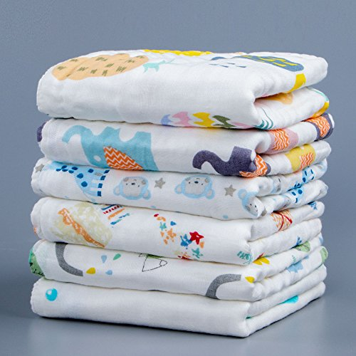 NTBAY 6 Layers of Baby Washcloths Natural Muslin Cotton with Cartoon Printed Design, Newborn Baby Face Towel Perfect Gifts Set of 6, Extra Soft, Breathable, 10x10 (Designs Baby Face)