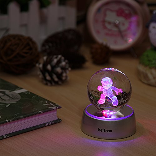 3D Laser Etched Crystal Ball(50mm) Puzzle With LED Base (Mario)
