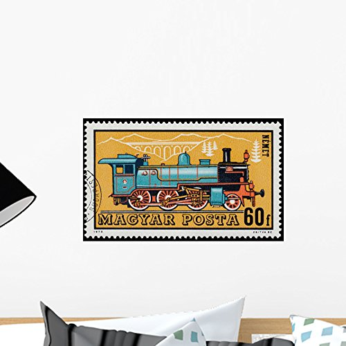 (Wallmonkeys FOT-75996380-18 WM61719 Stamp Printed in Hungary Shows German Locomotive Peel and Stick Wall Decals (18 in W x 11 in H), Small )