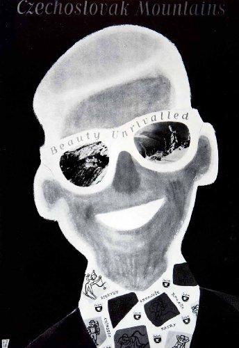 1956 Print Tourism Advertising Czechoslovak Mountains Figure Sunglasses Art - Original Halftone - Sunglasses Advertising
