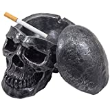Gothic Decor Spooky Human Skull Ashtray with Cover for Scary Halloween Decorations and Decorative Skulls & Skeletons Figurines As Gothic Smoking Room Decor Gifts for Smokers