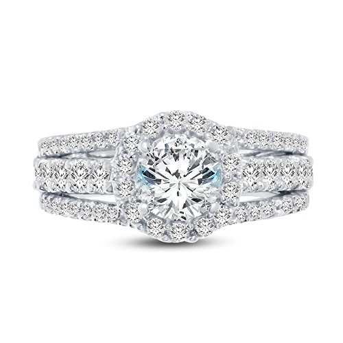 Size - 10 - 925 Sterling Silver Round Cut Large Wide Floating Halo Solitaire Engagement Ring CZ Cubic Zirconia (2.0cttw., 1.0ct. (Halo Solitaire)