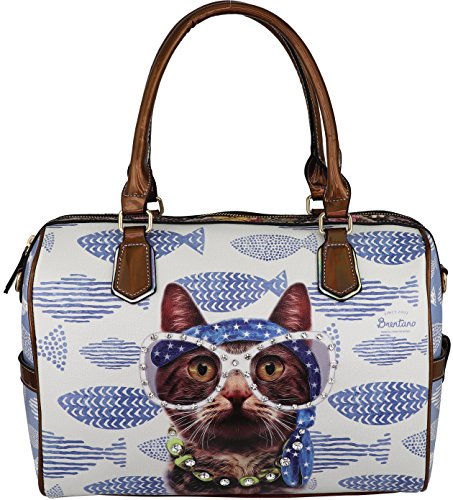 B BRENTANO Vegan Cute Animal Graphic Top Handle Boston Shoulder Bag with Rhinestones (Fishy Cat.)