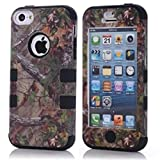iPhone 5C Case,Lantier Defender Body Armor Realtree Camo Hard Silicon Rubber Military Rugged Protective Case Combo with Camouflage Wood Design Cover for Apple iPhone 5C [Green Tree Black]