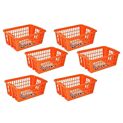 Stor-All Solutions Multi-Purpose Everyday Stackable Baskets and Bins, Large Basket With Holes, 6 Piece, -