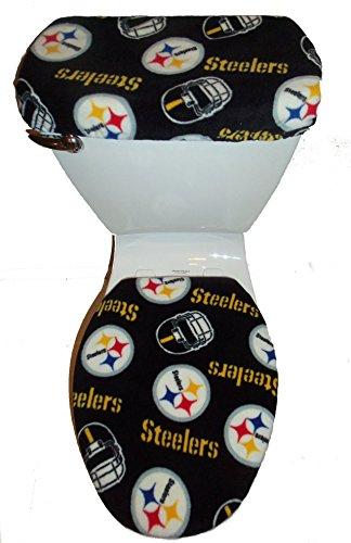 NFL PITTSBURGH STEELERS BLACK TOILET SEAT COVER SET by Rock'N Deals Seller