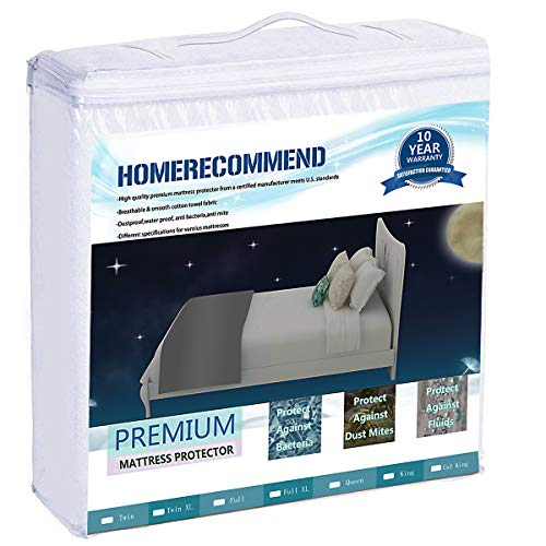 HOMERECOMMEND Mattress Protector Fitted Sheet 100% Waterproof Breathable Bed Topper Pad Terry Cloth Cotton Cover Shield Lab Test Allergy Anti-Mite Vinyl-Free, Queen