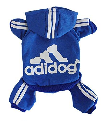 Rdc Pet Adidog Dog Hoodies, Clothes,Fleece Basic Hoodie Warm Sweater,4 Legs Cotton Jacket Sweat Shirt Coat Small Dog Medium Dog Cat (L, (Birthday Warm Jacket)