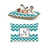 Kess InHouse Chevron Blue Teal Fleece Dog Bed, 30 by 40-Inch, Monogram Letter-N Review