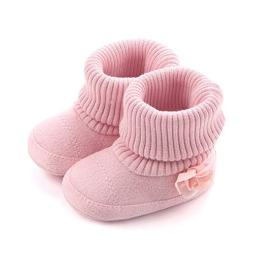 SCOWAY Baby Boys Girls Fleece Non-Skid Booties Newborn Infant Soft Warm Crib Shoes Winter Snow Boots Pink Flower M ()