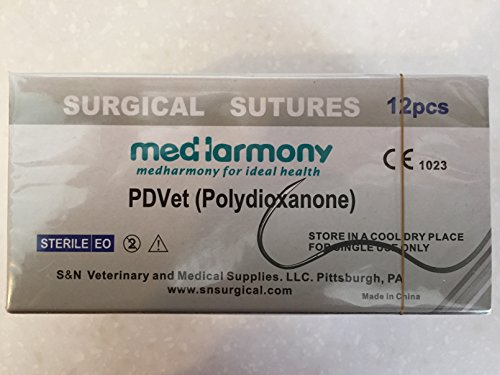 box of 12 PDVet 75cm 3-0 Polydioxanone Suture with 3/8 24mm rev cutting needle Absorbable Suture