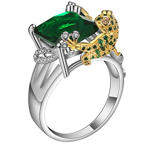 JBL Women Couple Promise 925 Sterling Silver Color Green Crystal Frog Design Charming Finger Rings