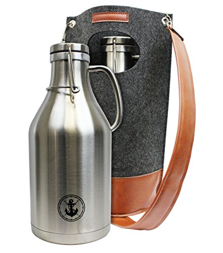 64oz Insulated Steel Beer Growler with Wool Carrying Case (stainless