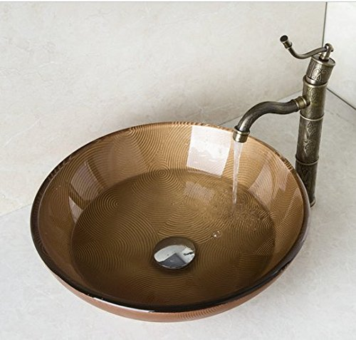 GOWE Brown Hand Painted Round Tempered Glass Vessel Sink With Brass Bathroom Faucet And Pop Up Drain Bathroom Sink Set 0